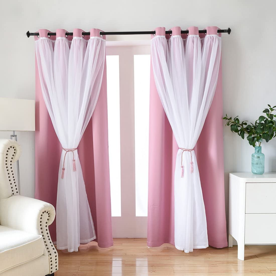 Didihou Voile Mix Match Blackout Curtain Elegant Panel Double Layer Darkening Thermal Insulated Window Treatment Grommet Drapes for Living Room Girls Bedroom, 1 Panel 52W x 63L Inch, Pink