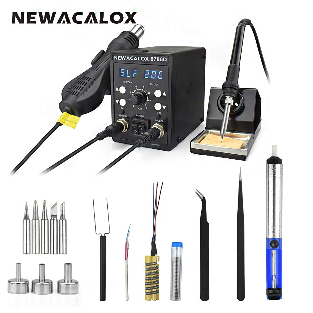 8786D Rework Soldering Station, SMD Digital Dual LED Display Soldering Iron and Hot Air Desoldering Gun 2 in 1 Rework Station Kit with Heating Core Replacement,700W 480℃