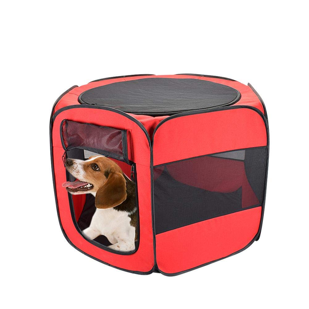 Red Centishop Foldable Pet Plaype,Outdoor Portable Car Cage for Cats and Dogs, Waterproof Oxford Cloth Six-Sided Pet Fence Carrying Case, Removable Mesh Shade Cover