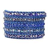 KELITCH Crystal AB Beaded 5 Wrap Bracelet On Dark Blue Leather Summer Jewelry