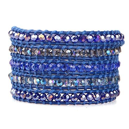 KELITCH Crystal AB Beaded 5 Wrap Bracelet On Dark Blue Leather Summer Jewelry ()