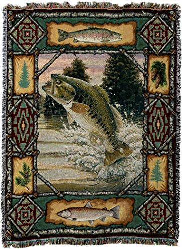 Pure Country Weavers - Fish Bass Lodge Cabin Hunting Decor Woven Tapestry Throw Blanket with Fringe Cotton USA Size 72 x 54