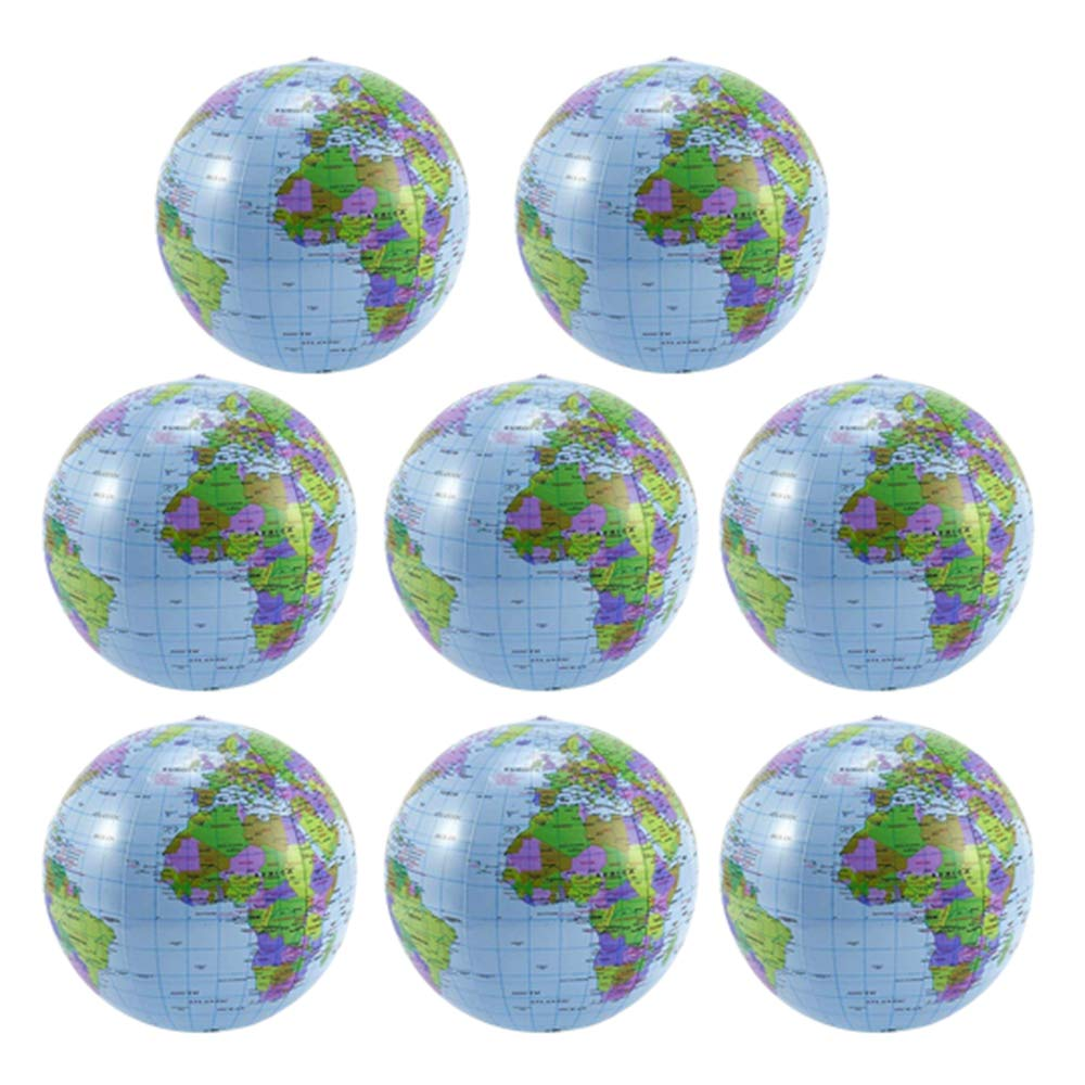 8PCS Inflatable Globe PVC World Globe Inflatable Earth Beach Ball for Beach Playing or Teaching, 16 Inch by PiPiHa