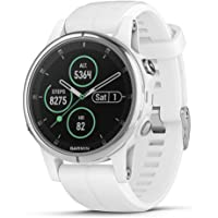 Garmin fēnix 5s Plus, Smaller-Sized Multisport GPS Smartwatch, Features Color TOPO Maps, Heart Rate Monitoring, Music and Garmin Pay, White/Silver