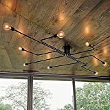 RUXUE Black Industrial Modern Semi Flush Ceiling Light 8 Lighs Pendant Lights Fixture