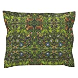Roostery Jungle Standard Flanged Pillow Sham Rainforest Mirror Version by Vinpauld Natural Cotton Sateen Made