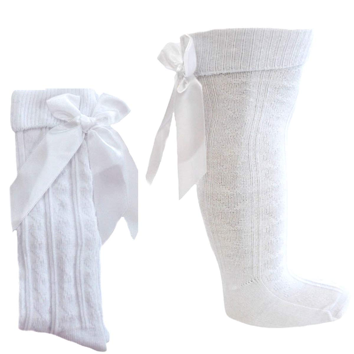 1 Pair Baby Girls Spanish Knee Length Socks with Heart Design Matching Stitched Large Bow