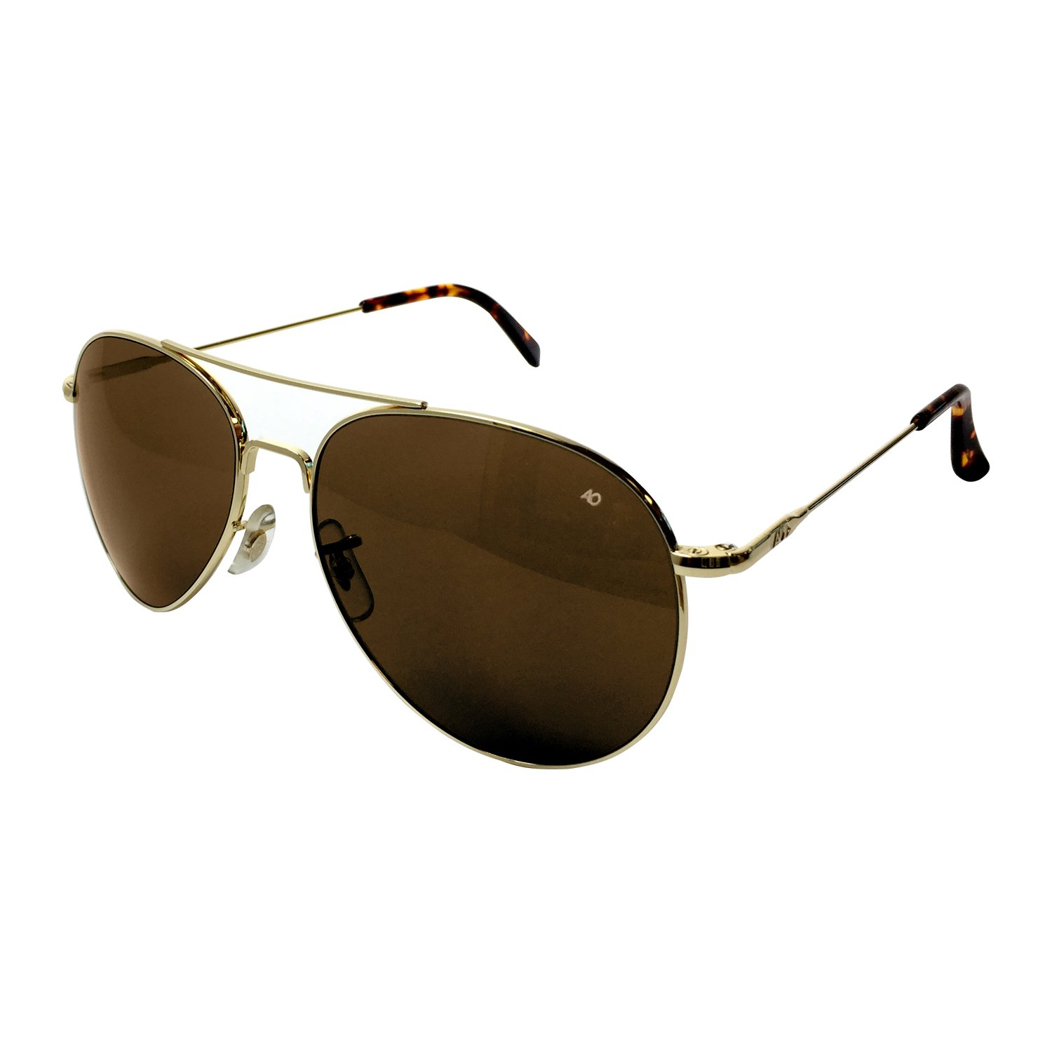 AO Eyewear American Optical - General Aviator Sunglasses with Wire Spatula Temple and Gold Frame, Cosmetan Brown Glass Lens