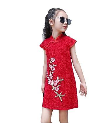 Vestido Chino para Niña, Qipao Regalo Banquete Fiesta Verano para Niñas Chicas