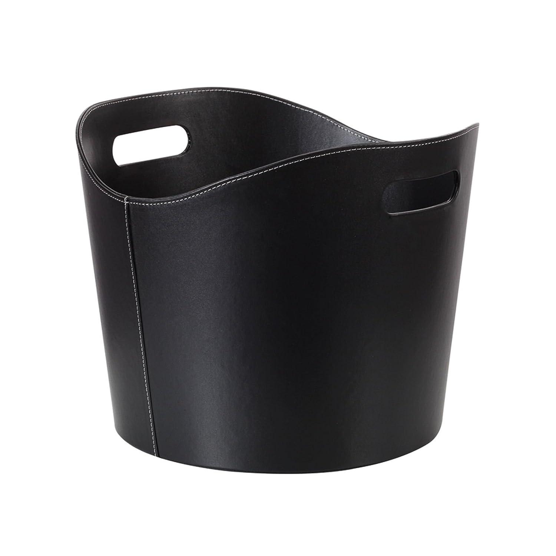 Perel - Cesta para leña de cuero negro DIY BB50302