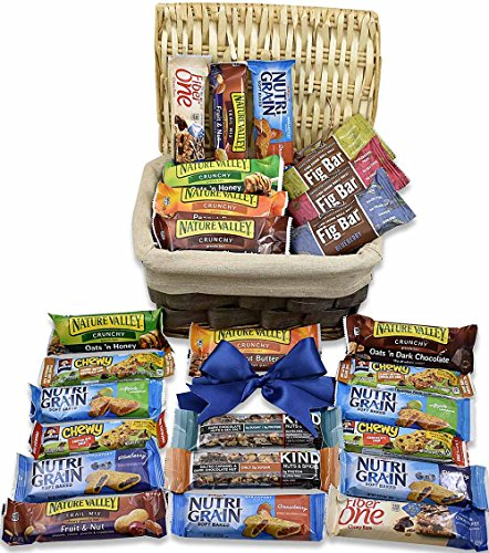 Care Package Gift Basket (25 Pieces) - Thinking of You - Healthy Snacks & Bars- Perfect for Get Well Soon, Meetings, Schools, Friends & Family, Military and College