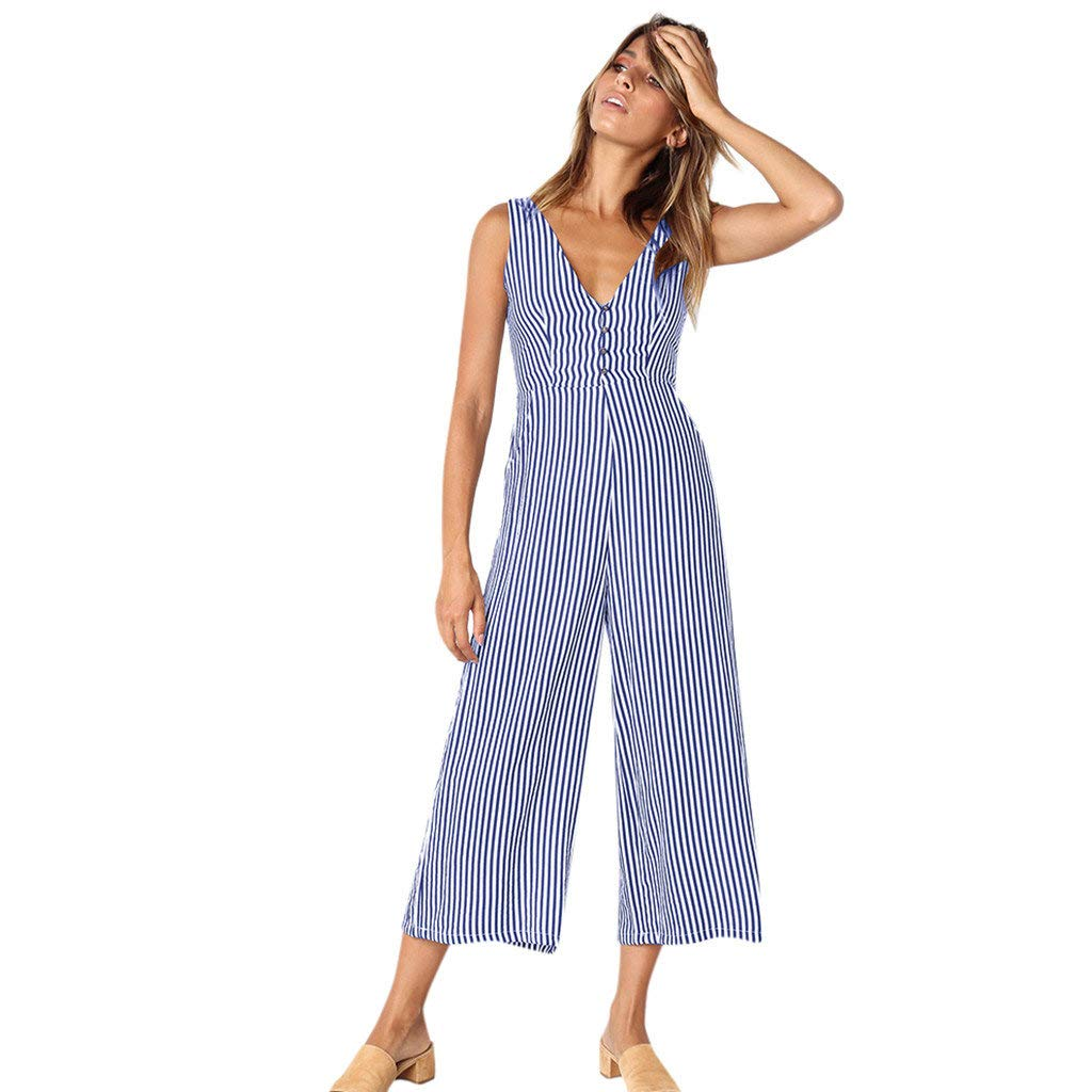 Women Sexy Striped V Neck Jumpsuits Summer Casual Slim Fit Sleeveless Wide Leg Palazzo Pants Beach Romper Playsuit (Blue, S)
