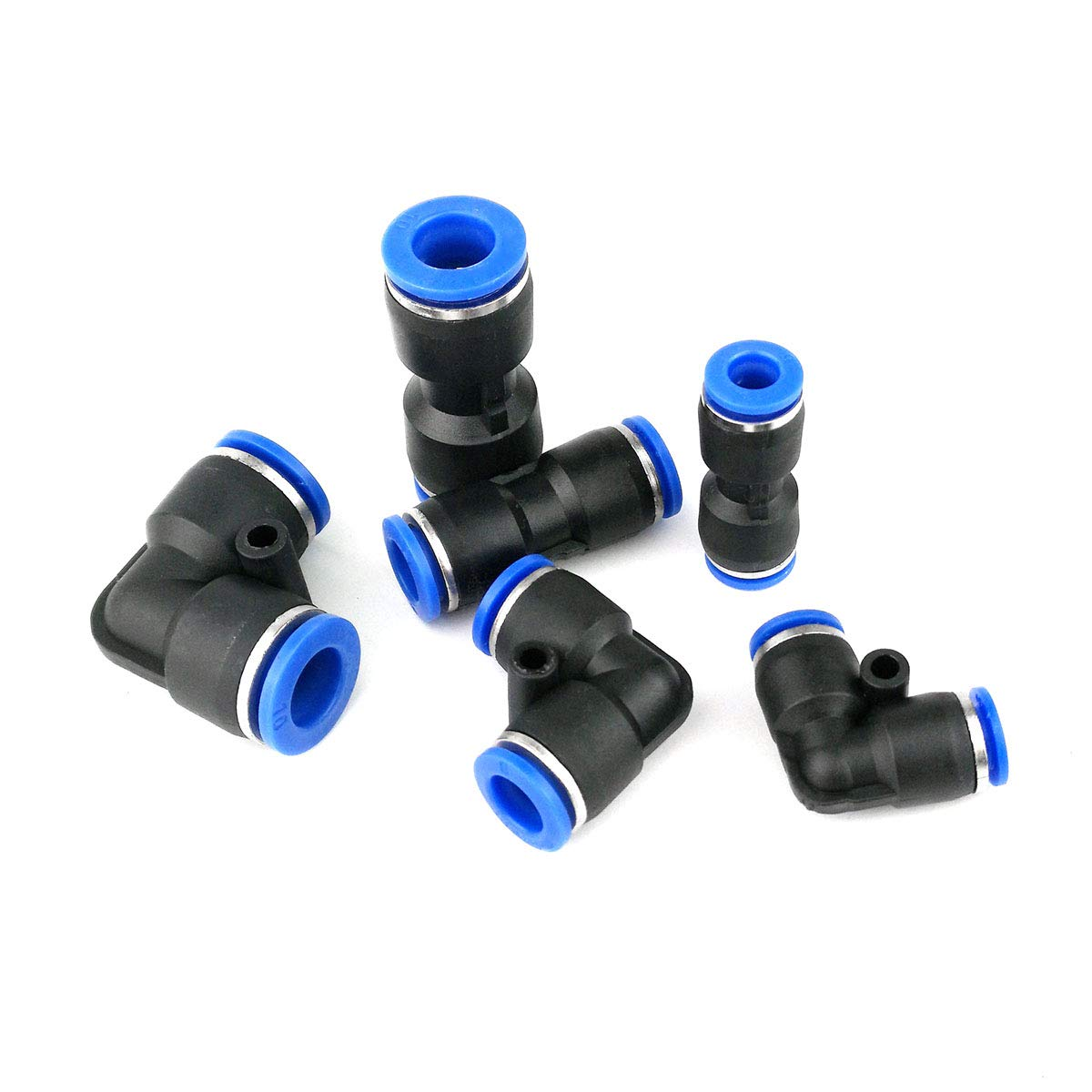 45 Pack Plastic Quick Release Connectors Straight Push Connectors Elbow Connectors Air Tool Fittings for 1//4 5//16 3//8 Tube