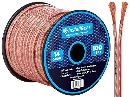 Awg Clear Jacket Speaker Cable (InstallGear 14 Gauge AWG 100ft Speaker Wire Cable - Clear)