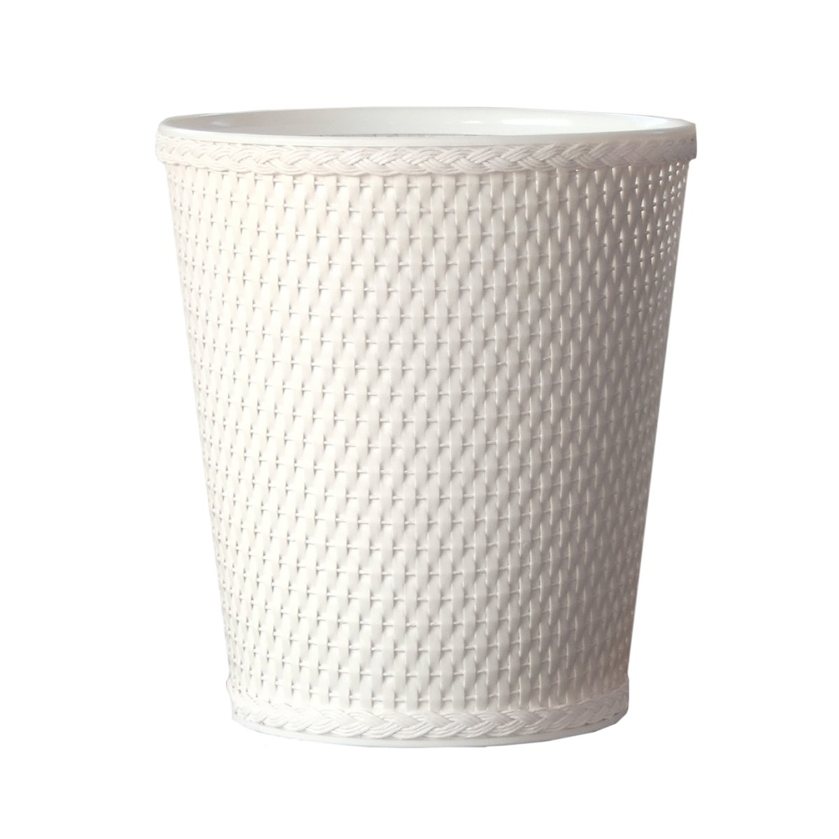 Lamont Home Carter Round Wicker Waste Basket, White by Lamont Home