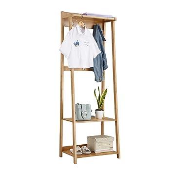 LANGRIA Perchero Burro de bambú con 6-Ganchos 1 Barra para Colgar Ropa para la Pasillo Sala Dormitorio del Vestidor, Color Natural de Bambú