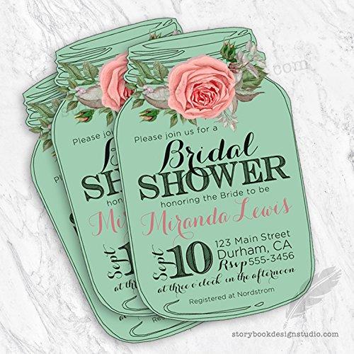 Mason Jar Floral Bridal Shower Invitations (Set of 10) Personalized