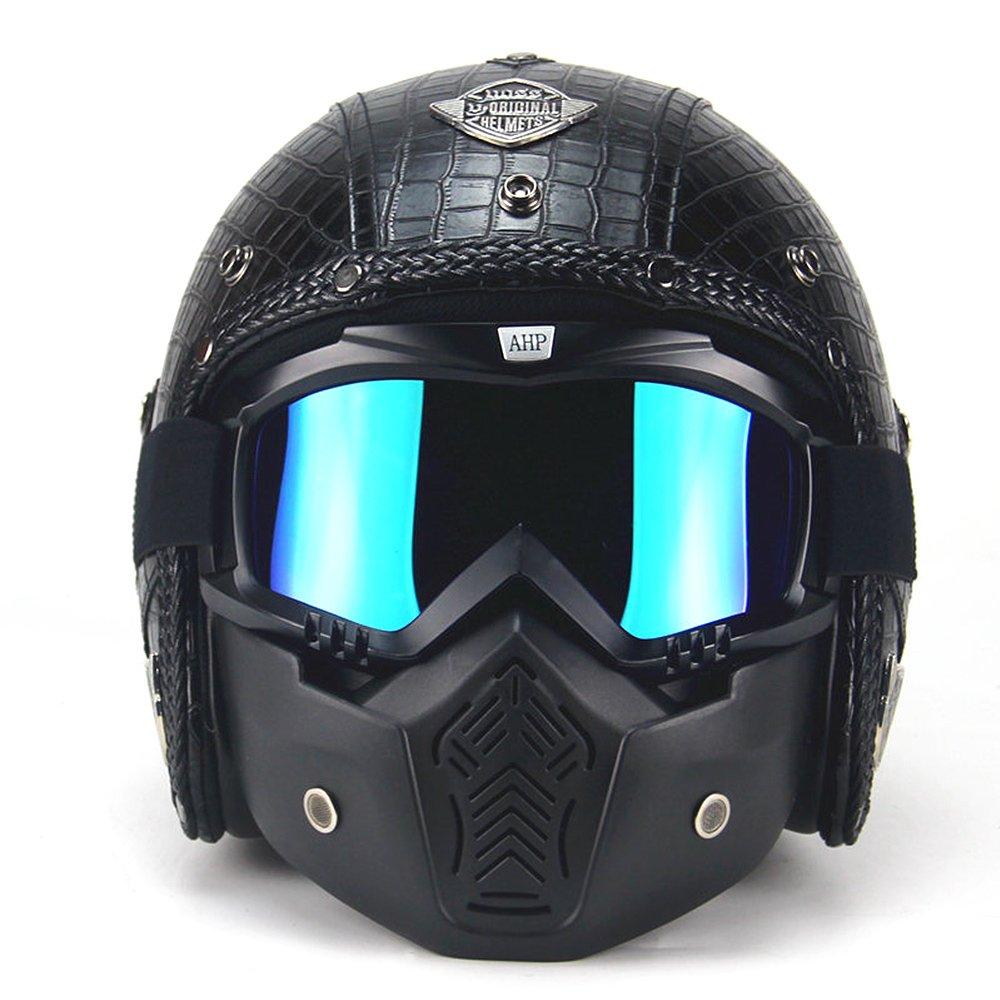 PU Cuir Visage Complet Harley Helm Super PDR 3/4 Casque Moto Scooter Visiè re ouverte de casque de vé lo avec le masque de masque pour toute l'anné e autour (Noir Style 3, L(59-60cm)) QM-M1/QM-M2/QM-M3/QM-M4