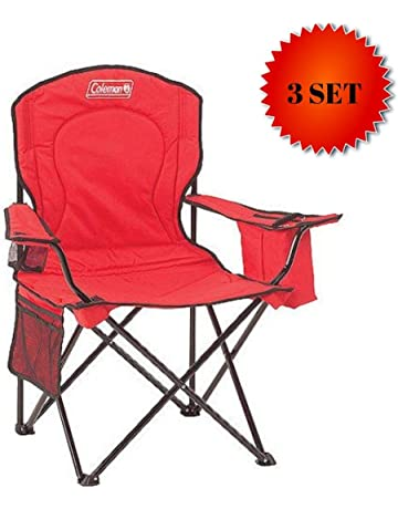5ab557a6169c Coleman Portable Camping Quad Chair with 4-Can Cooler (Red - 3 Set)