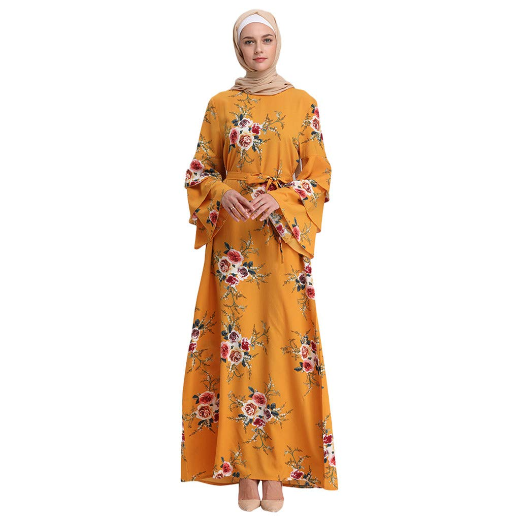 Women's Casual Maxi Dress,Clearance- Ladies Abaya Islamic Floral Printed Bell Sleeve Ethnic Lace Muslim Dress with Belt