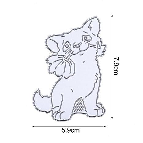Yiyilam perro con una flor de corte muere plantilla Strapbook moldes DIY álbum tarjeta de papel