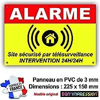 Panneau Alarme/Pancarte Alarme Dissuasion 225 x 150 mm en PVC : Site sécurisé par télésurveillance - Intervention 24H/24H (avec 4 Trous)