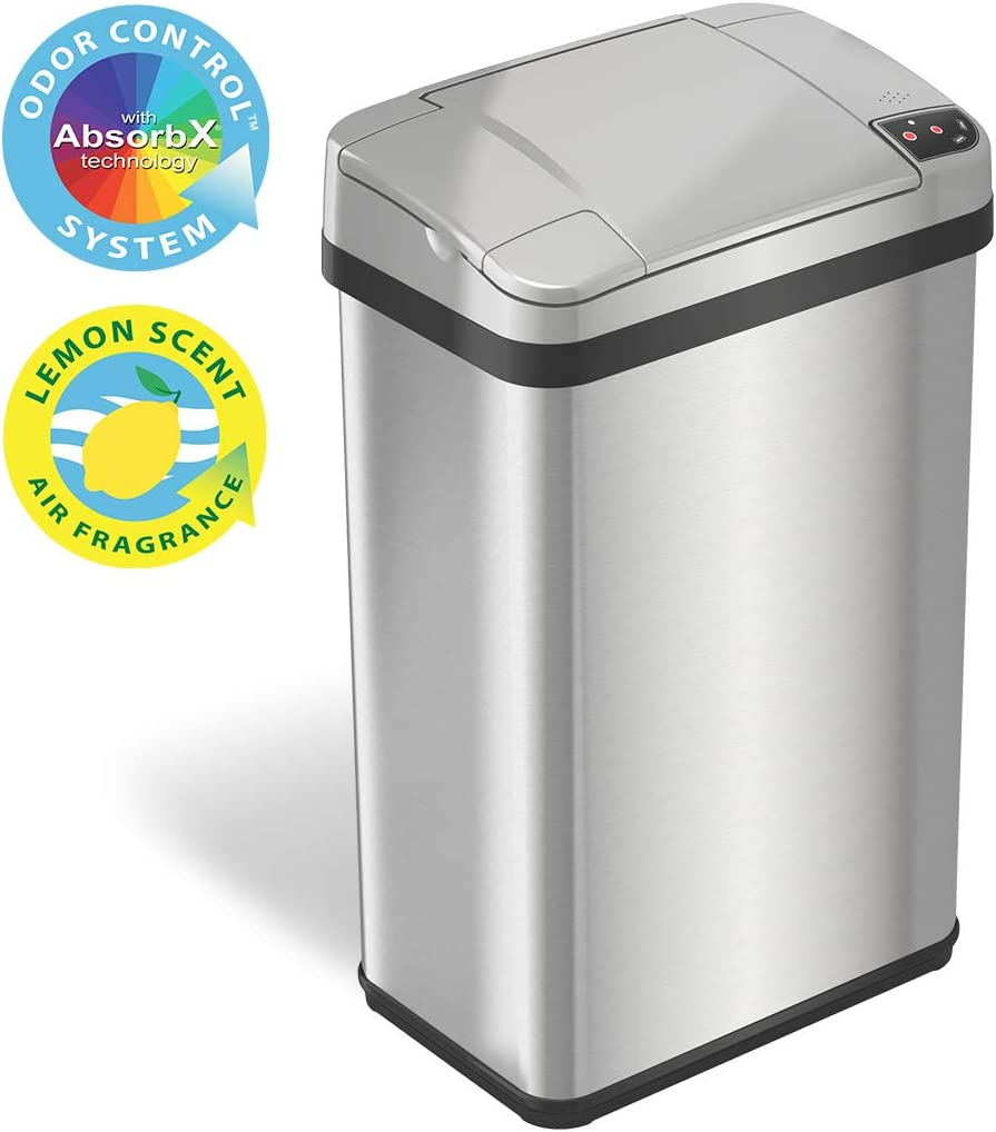 iTouchless 4 Gallon Sensor Trash Can with Odor Filter and Fragrance, Touchless Automatic Stainless Steel Waste Bin, Perfect for Office and Bathroom
