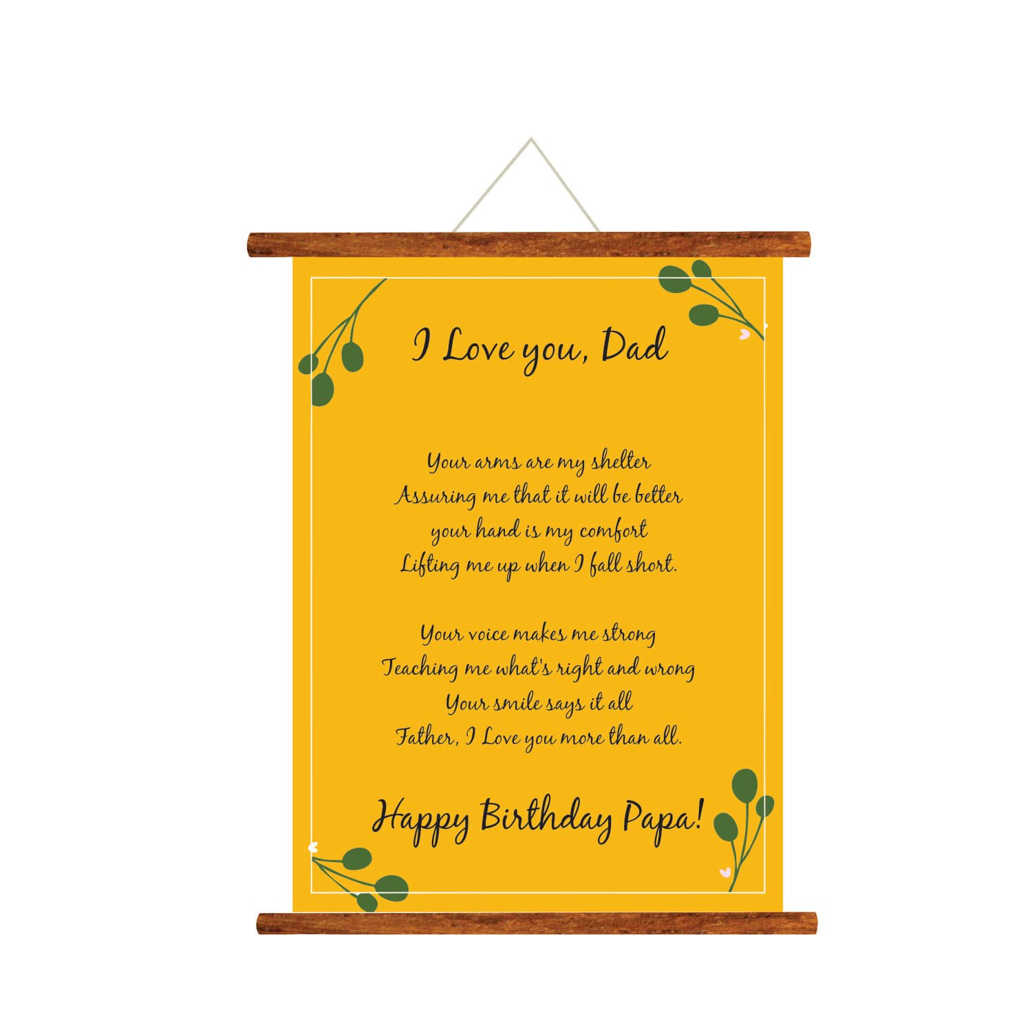 YaYa Cafe Fathers Day Greeting Cards Happy Birthday Papa Love You Dad Message Scroll Card For Wall Hanging Decor