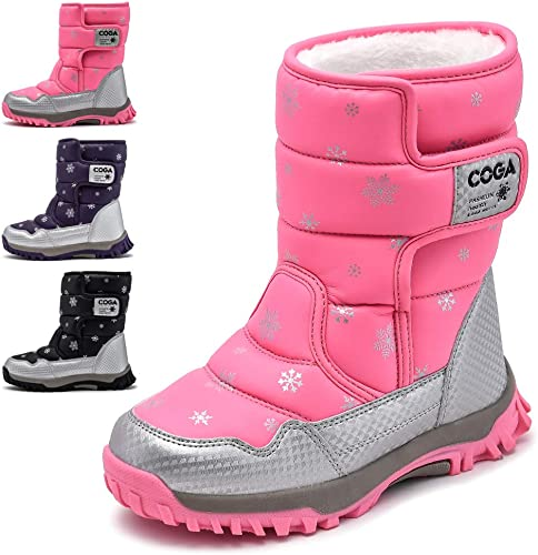 Children/'s Unisex Winter Outdoor Boots Cotton Shoes Warm Fleece Lined Snow Boots