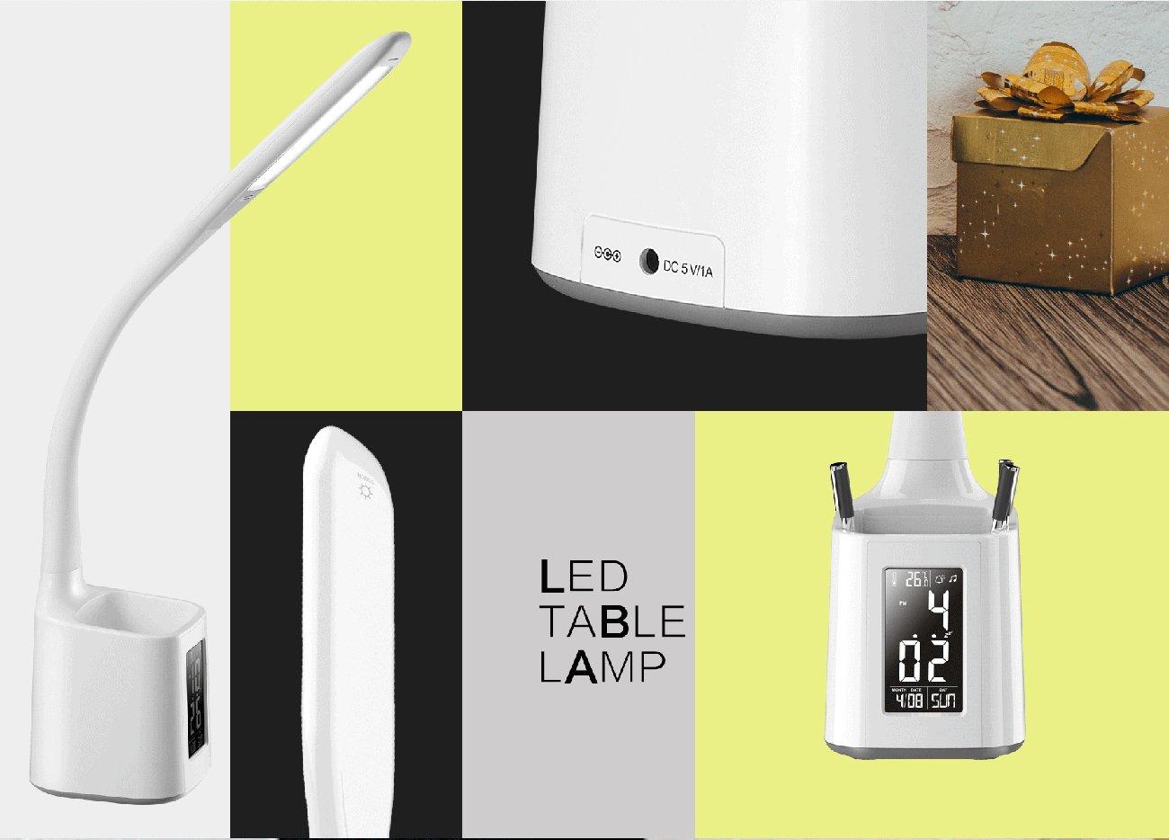 Wilit w lampe de bureau led avec porte stylo lampe de réveil