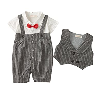 631cd8d7819e Amazon.com  AvaCostume Baby Boys Short Sleeve 2Pcs Vest Suit Overall ...