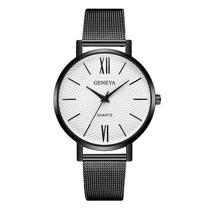 DressLksnf Reloj Lujo Moda de Mujer Pulsera Deportiva Banda de Reloj Cadena Ajuste Simple Acero Inoxidable Durable Correa de Metal Malla Digital Clásico: ...