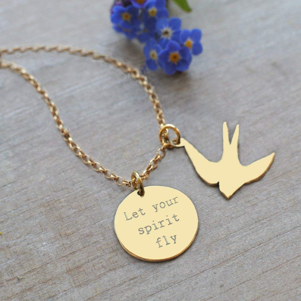 Personalised Gold Disc and Swallow Let Your Spirit Fly Necklace birthday gift motivational quote jewellery swallow necklace inspirational jewellery