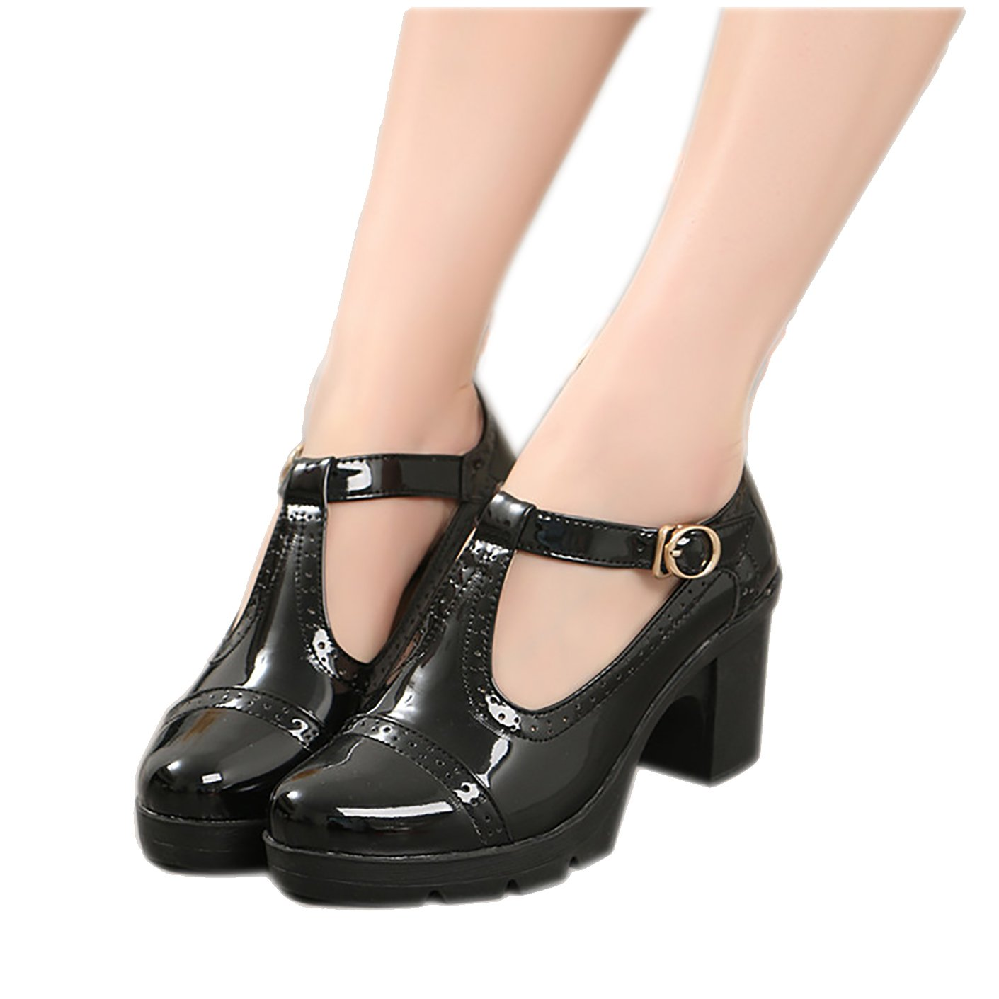 Xipai Women's T-Strap Platform Shoes Mid-Heel Vintage Oxfords Dress Shoes 02Black US 8.5