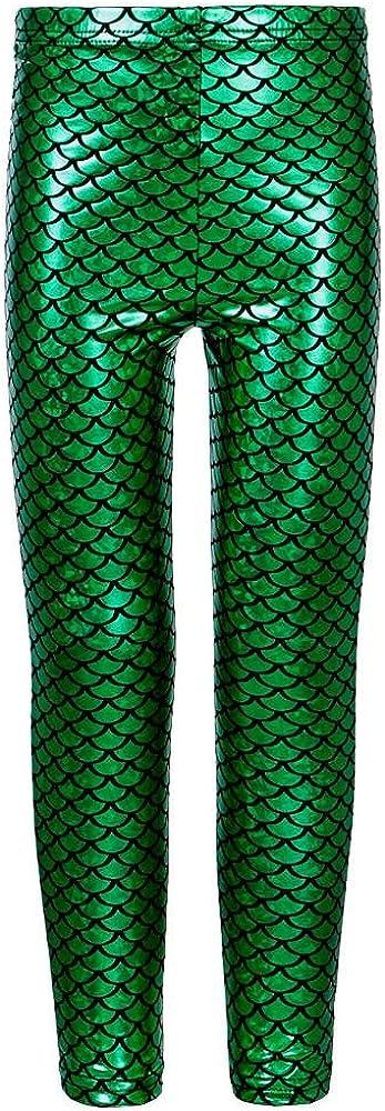 Hamishkane New Girls Fish Scale Mermaid Print Shiny Skinny Disco Metallic Leggings Trousers