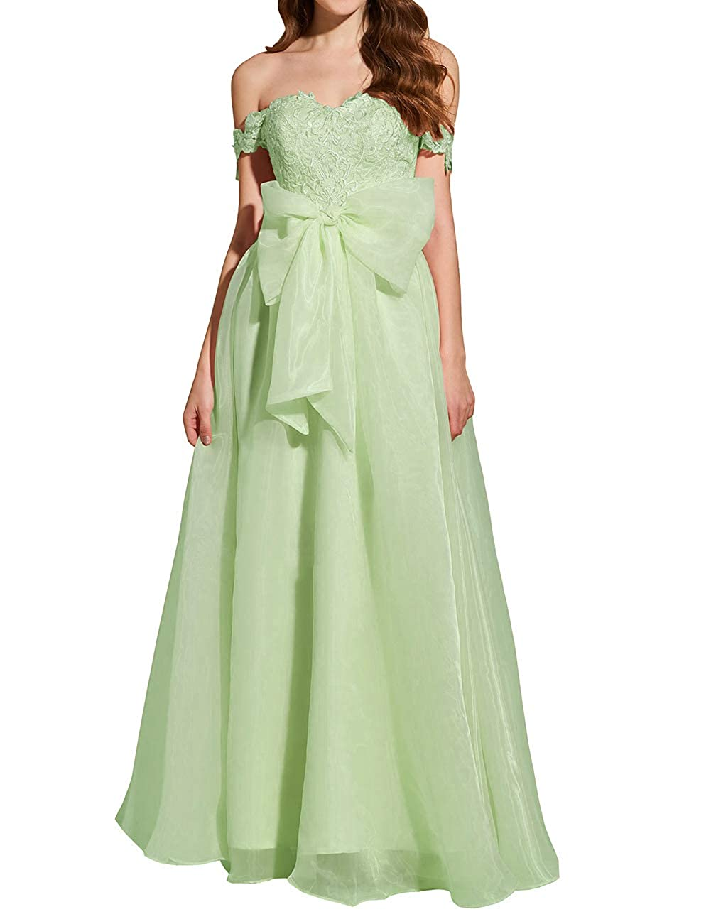 Sage Green Uther Formal Prom Dresses Off The Shoulder Appliques Long Evening Party Gowns Organza