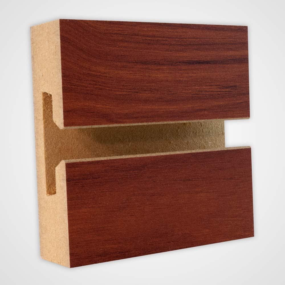 Horizontal Slatwall Panels with Cherry Finish in 4 Feet H x 8 Feet W