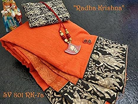 bee6eb15a0b8a4 Chanderi silk cotton saree with kalamkari patch print and jewellery set  combo: Amazon.in: Clothing & Accessories