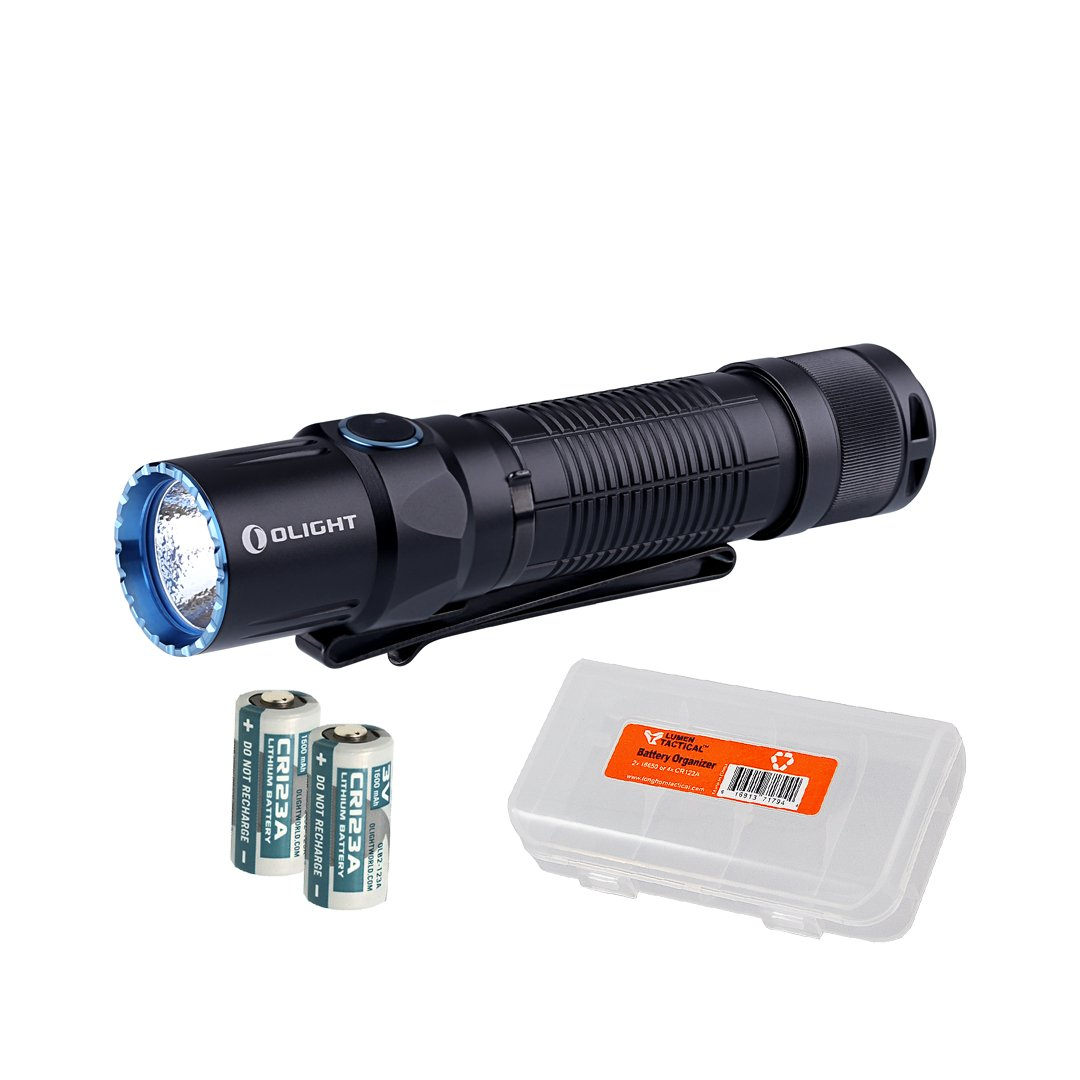 Olight M2T Warrior 1200 Lumen Dual Switch Tactical LED Flashlight w/Quiet 3-in-1 Tailcap - Includes 2x CR123A Batteries & Lumen Tactical Battery Organizer by Olight