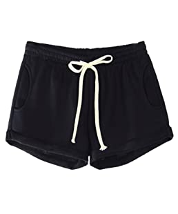 Yimoon Women's Casual Summer Elastic Waist Running Workout Yoga Shorts Sports Fitness Short Pants with Drawstring (Black, Large)