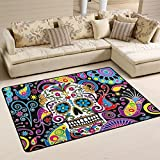 Naanle Floral Skull Area Rug 4'x6', Colorful Paisley Flower Polyester Area Rug Mat for Living Dining Dorm Room Bedroom Home Decorative