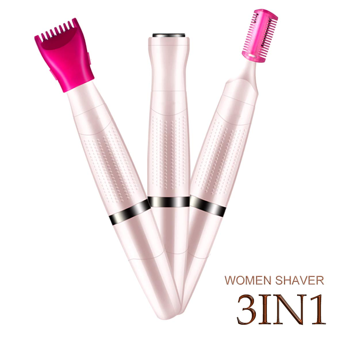 Bikini Trimmers For Women Ladies Shaver Electric Hair Remover 3in1 Facial Hair Removal Trimmer,Battery Operated,Wet and Dry Use