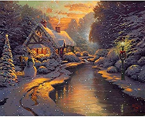 Drawing with Brushes Christmas Decor Decorations Gifts Frame DIY Oil Paint by Number Kit for Adults Beginner 16x20 inch-Sunset Glow and Trees