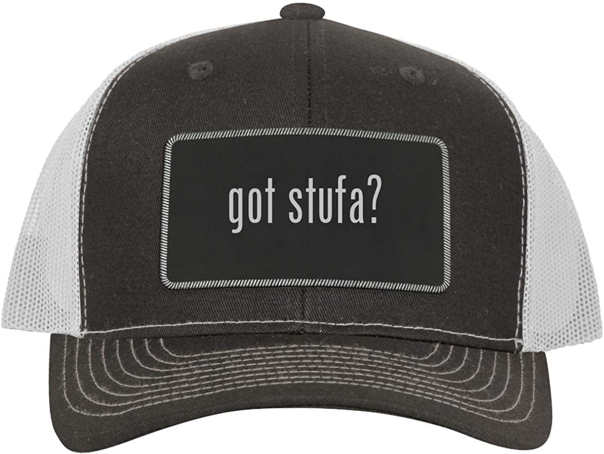 One Legging it Around got Stufa? - Leather Black Metallic Patch Engraved Trucker Hat