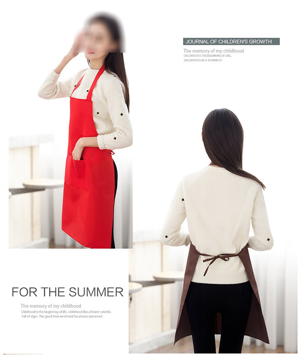 TSD STORY Total 12 PCS Plain Color Bib Apron Adult with 2 Front Pocket by TSD STORY (Image #5)