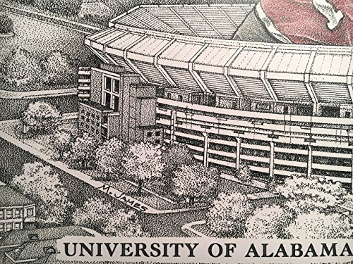 Alabama football stadium with elephant 11''x17'' pen and ink print from hand-drawn original by Campus Scenes (Image #4)