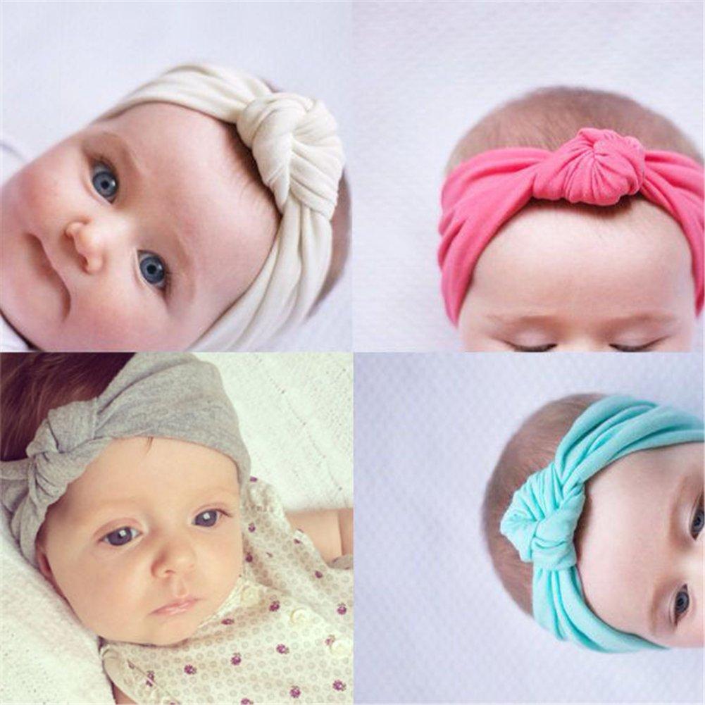 8pcs diadema Cabello Mignon bebé gorro para niña niño UNI de nudo turbante elástico color Pure accesorio cabello pequeña niña, color aleatorio RUNFON