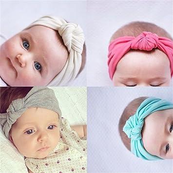 3730429d336a 8 pcs Bandeau Cheveux Mignon Bébé Coiffe Fille Enfant Uni de Nœud Turban  Elastique Couleur Pure