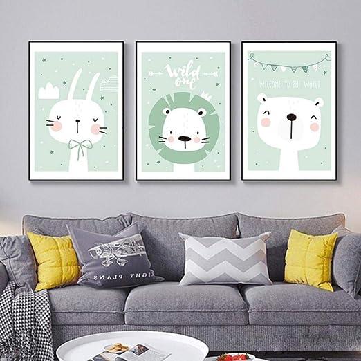 Amazon|北欧の現代漫画のアニマルプリントキャンバス絵画かわいいウサギのライオン壁アート写真幼稚園子供部屋の装飾ポスター-40x60cmx3いいえフレーム|ウォールステッカー  オンライン通販