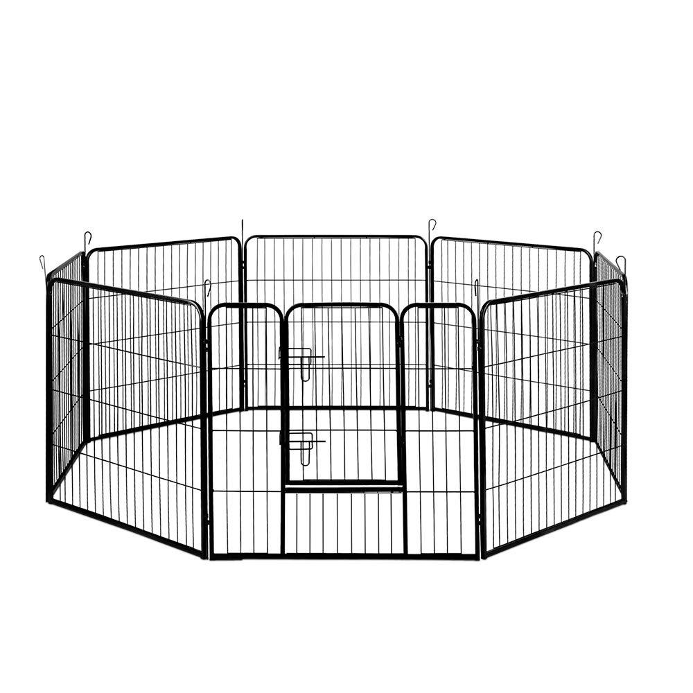 32  80x80CM 8 Panel Pet Playpen Portable Exercise Cage Fence Dog Puppy Rabbit